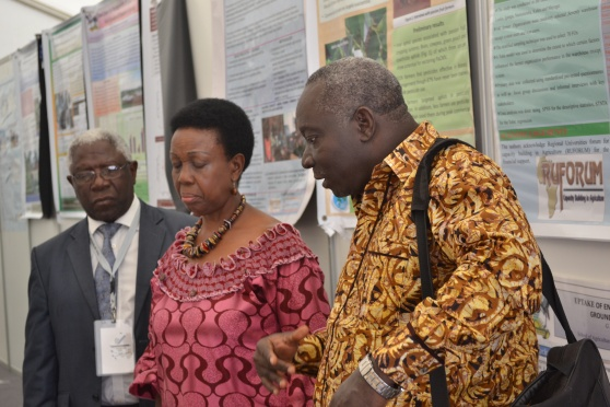 Prof. Levi Martin Nyagura: RUFORUM Board Chair  (Left), H.E Tumusiime Rhoda Peace: Commissioner for Rural Economy and Agriculture at the African Union (center) and Prof. Adipala Ekwamu: Executive Secretary - RUFORUM (Right)