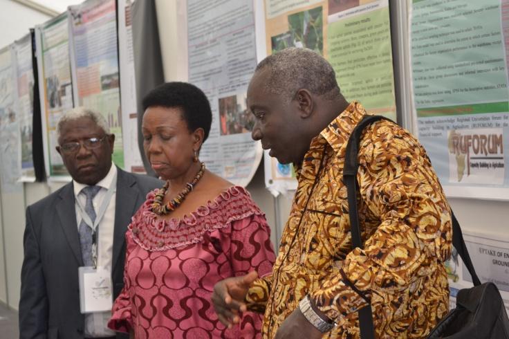 Prof. Levi Martin Nyagura: RUFORUM Board Chair  (Left), H.E Tumusiime Rhoda Peace: Commissioner for Rural Economy and Agriculture at the African Union (center) and Prof. Adipala Ekwamu: Executive Secretary - RUFORUM (Right)