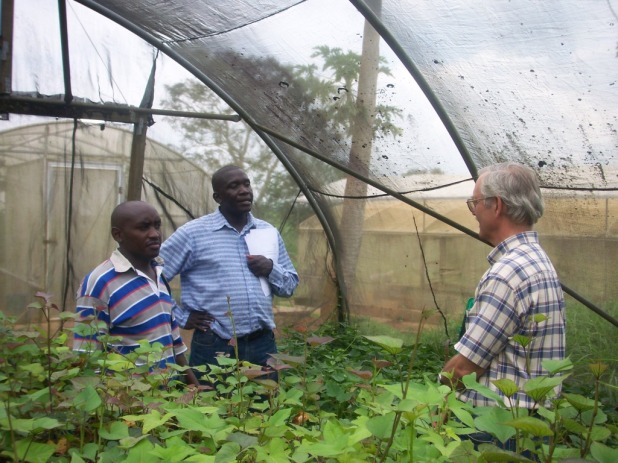 Dr. Patrick Edema  (Center), Prof. Paul Gibson (Left)  and one of the students on the MSc. Plant Breeding Program.