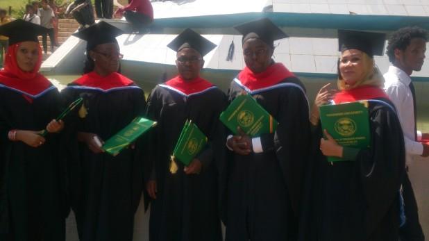 Above from left to right: SHARE Students: Hanaa (Sudan); Liambila (Kenya); Moffat (Zambia); Olivier (Burundi), Maysoon (Sudan) graduated on 04 July 2015 in Haramaya University, Ethiopia.