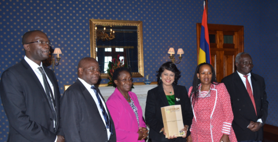 Above: RUFORUM Board Members and Secretariat with Her Excellency Dr. Mrs. Ameenah Gurib-Fakim, President of the Republic of Mauritius at State House, Port Louis, Mauritius
