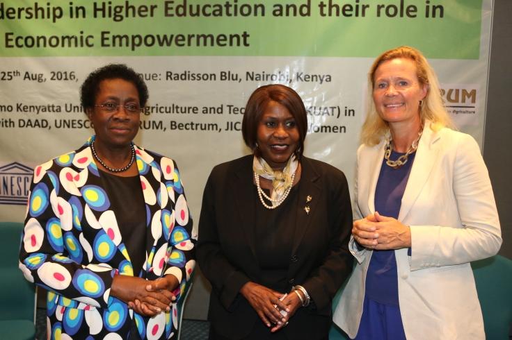 Prof. Wakhungu (centre), Prof. Imbuga (left) and Dr. Asa