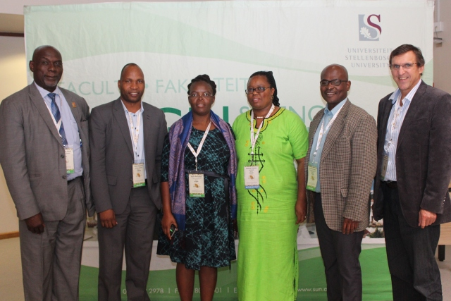 Among the deans attending the event were (from left) Mick Sikaenyi Mwala of the University of Zambia, outgoing RUFORUM Dean's Forum Chair Simon Angombe of the University of Namibia, RUFORUM programme manager Solange Uwituze, Agnes Mwangwela of the Lilongwe University of Agriculture and Natural Resources, Khumoetsile Mmolawa of the Botswana University of Agriculture and Natural Resources, and Prof Danie Brink, acting dean of the SU Department of AgriSciences and incoming chair of the RUFORUM Dean's Forum. Photo: Engela Duvenage