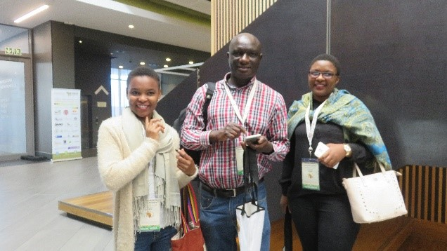 Sesethu Nyeleka (Right), Professor V. (Center) and  Muchenje, Avela Mxhunyelwa (Left) at the just concluded RUFORUM Biennial Conference, 2016